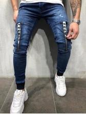 Stylish Zipper Decor Letter Boyfriend Jeans