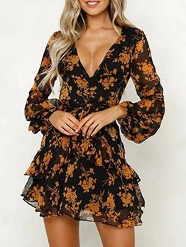 Deep v Flower Print Female Long Sleeve Dress