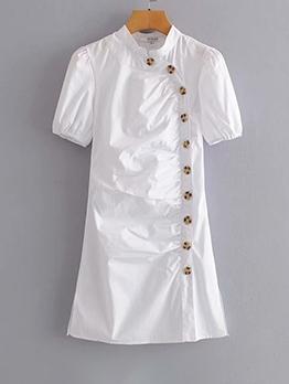 Retro Cheongsam Style Button Down Short Sleeve Dress