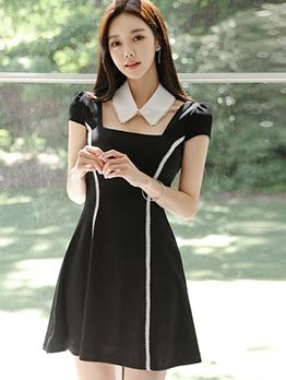 Preppy Style Square Neck a Line Dress