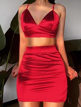 Split Hem Solid Color Satin Crop Top And Skirt Set