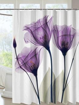 Rural Lotus Printed Decor Waterproof Shower Curtain