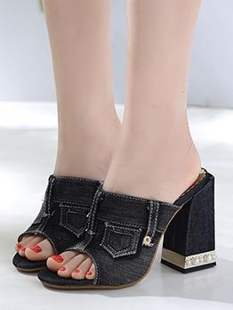 Chic Denim Faux Pearl Open Toe Heels For Women