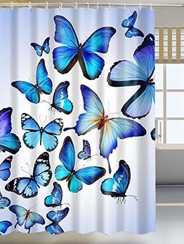 Stylish Polyester Butterflies Pattern Bath Curtain