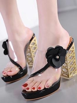 Transparent PVC Sequin Flower Summer Chunky Heels