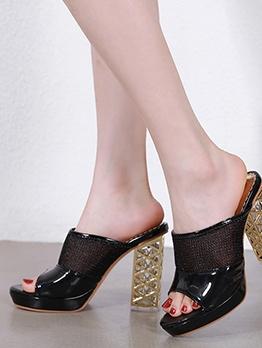 Open Toe Glossy Pu Low Platform Heels For Women