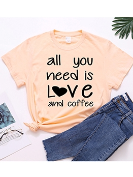 Letter Printed Casual Short Sleeve Cotton T-shirt