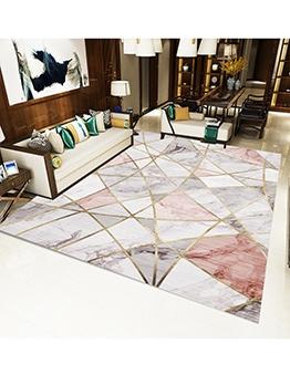 Decorative Color Block Geometric Printed Floor Mat