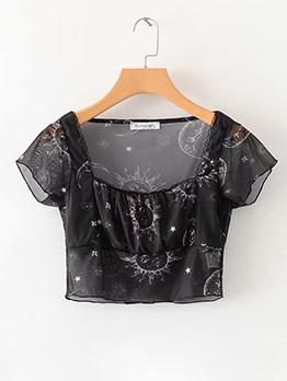 Lace Trim Printed Square Neck Crop Blouse