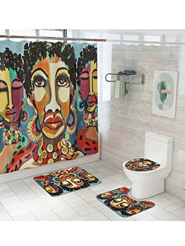 Exotic Style Printed With Shower Curtain Doormat Sets