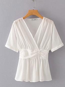Summer V Neck Short Sleeve White Blouse