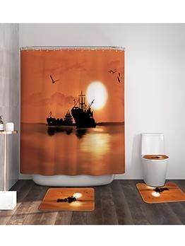 Marine Scenery Printed Bath Curtain Doormat Sets