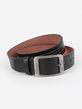 Square Buckle Faux Leather Mens Belts