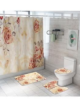 Romantic Rose Printed Shower Curtain Doormat Sets