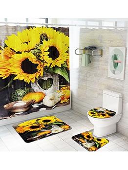 Chic Sunflower Pattern Waterproof Four Piece Doormats