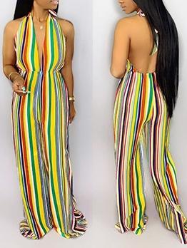 Colorful Vertical Stripes Halter Neck Wide Leg Jumpsuit