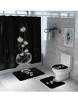 Fashion Lotus Pattern Bathroom Shower Curtain Doormat Sets