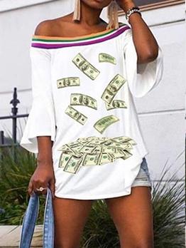Boat Neck Trendy Printing Long Sleeve T Shirts