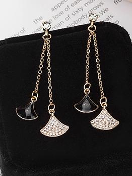 Tiny Rhinestone Decor Geometric Sector Long Earrings
