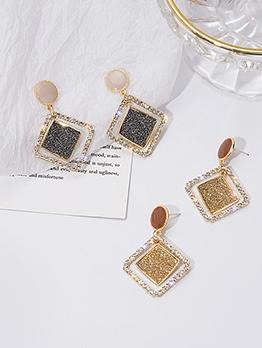 Tiny Rhinestone Hollow Geometric Earrings
