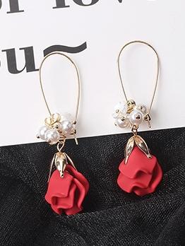Ins Sweet Faux Pearl Rose Drop Earrings