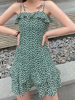 Hot Sale Floral Green Sundress For Women