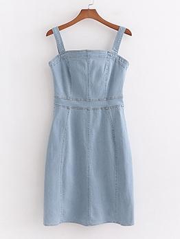 Hot Sale Light Blue Sleeveless Denim Sheath Dress