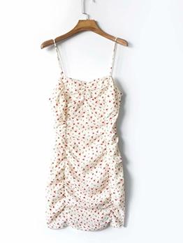 Summer Draped Floral Sleeveless Bodycon Dress