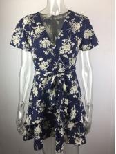 Deep v Printed Short Sleeve Wrap Dress