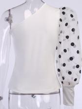 Inclined Shoulder Polka Dot Gauze Sleeve Fashion Blouse