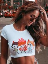 Cartoon Printing Crew Neck Summer Cropped T Shirt