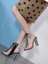 Transparent PVC Chunky Heels Side Zipper Lace Up Sandals