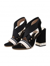 Elastic Straps Striped Chunky Heels Summer Sandals