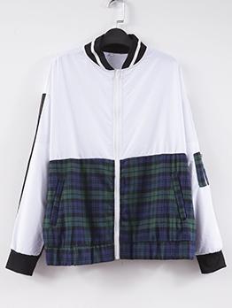 Contrast Color Plaid Zipper Up Casual Plus Size Coats
