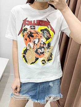 Crew Neck Skull Printed Short Sleeve t Shirt