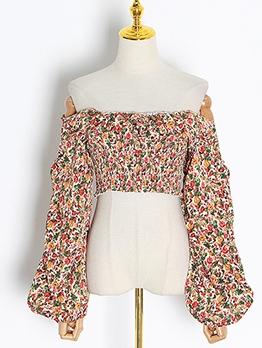 Chic Design Smocked Floral Off Shoulder Blouse