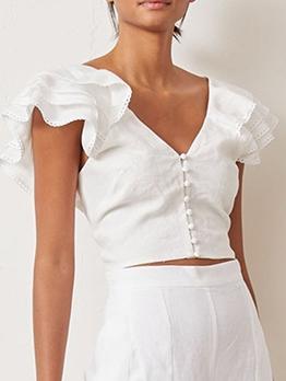 Fashion Design V Neck Ruffled Sleeve Crop Blouse