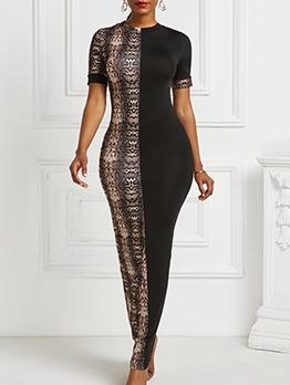 Animal Print Contrast Color Skinny Maxi Dress