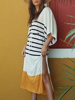 Split Hem Bat Sleeve Loose Striped Midi Dress For Women