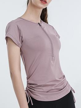 Half Zip Drawstring Short Sleeve Sport T-shirt