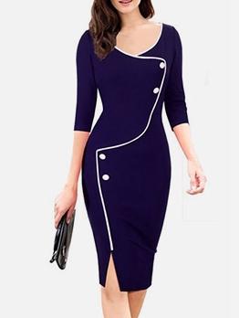 Half Sleeve Buttons Up Office Work Dress For Women