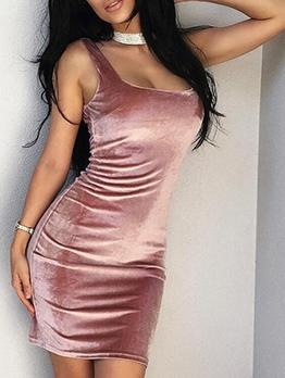 Sexy Square Neck Sleeveless Bodycon Velvet Dress