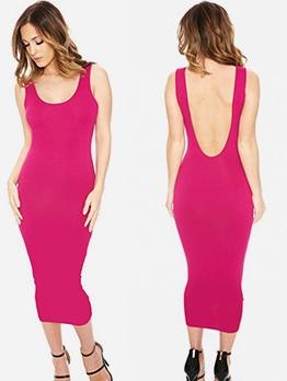 U Neck Backless Summer Sleeveless Midi Dress