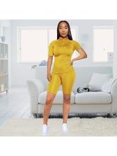 High Neck Short Sleeve Skinny Womens Tracksuits