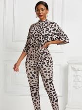 Stylish Leopard Print Two Piece Pants Set