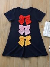 Bow Decor Short Sleeve t-Shirt Dress For Girl