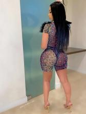 V Neck Gauze Patchwork Snake Print Bodysuit With Shorts