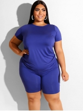 Solid Short Sleeve Plus Size Two Piece Sets
