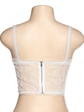 Rhinestone Decor Sleeveless Lace Camisole