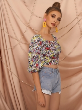 Vintage Square Neck Floral Puff Sleeve Blouse